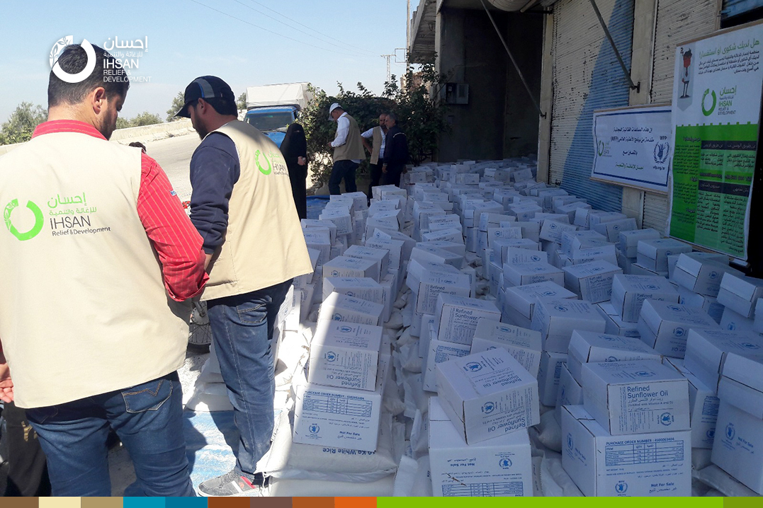 Distribution of food baskets in Jisr ِAl-Shughour area