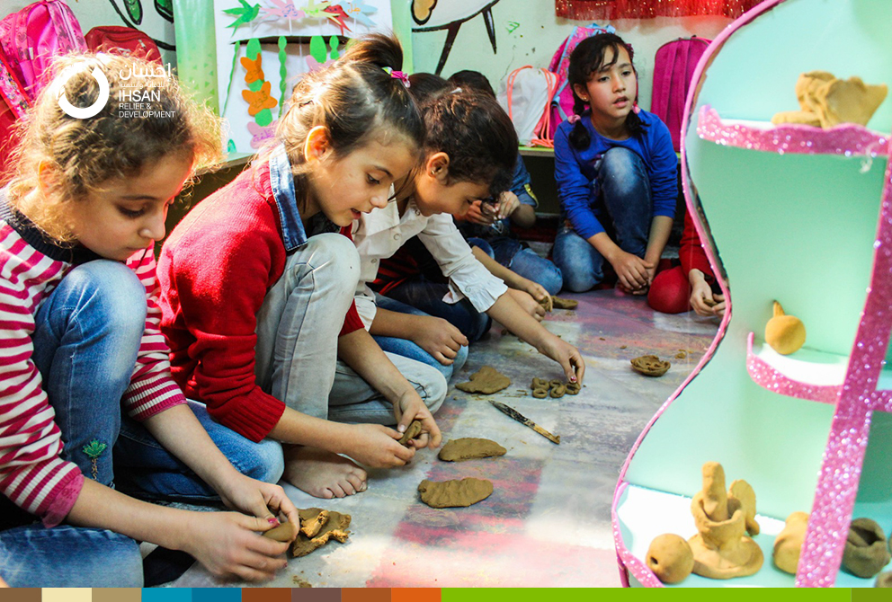 A part of Child-Friendly Space activities in Armanaz