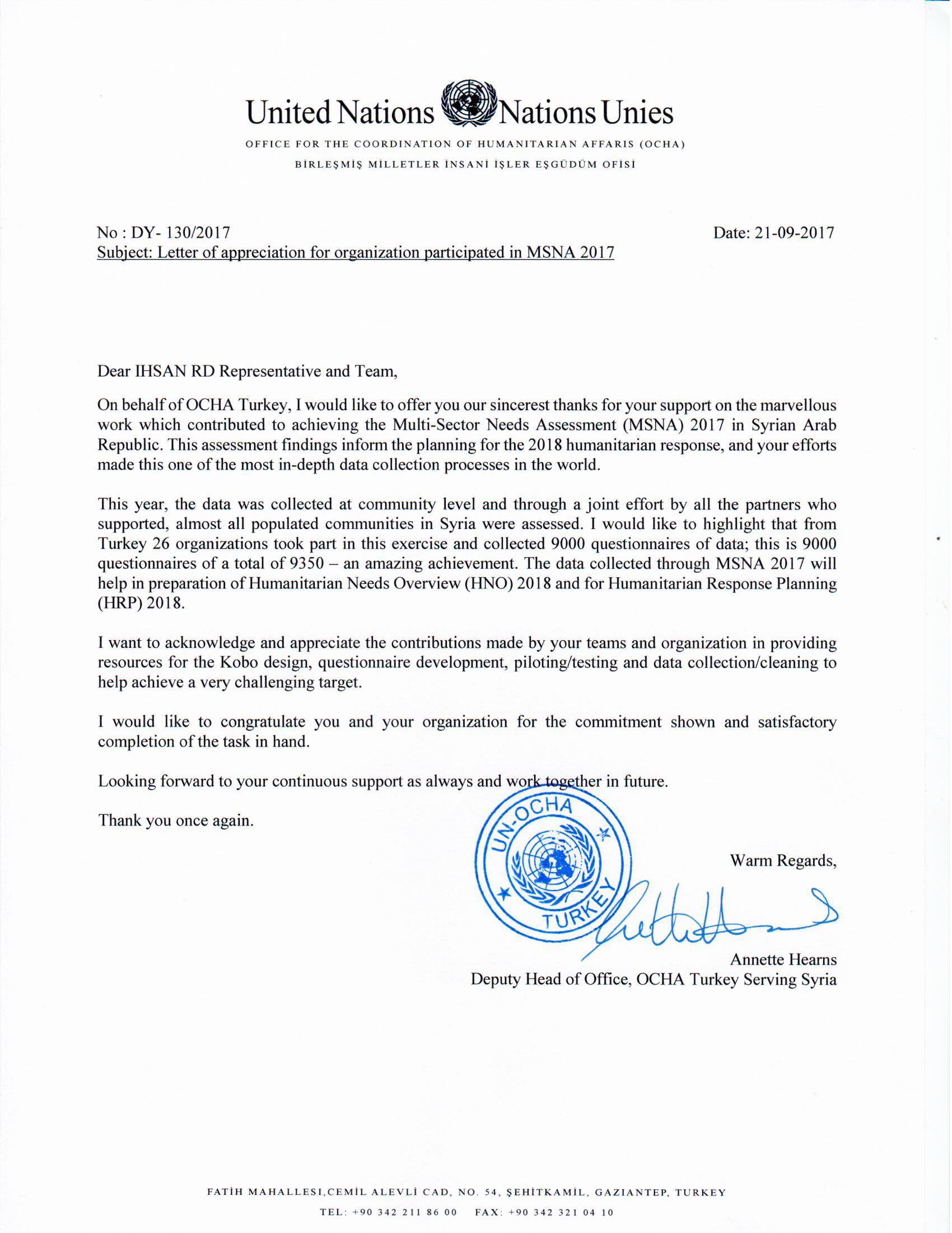 A Letter of Appreciation from OCHA for Ihsan Team