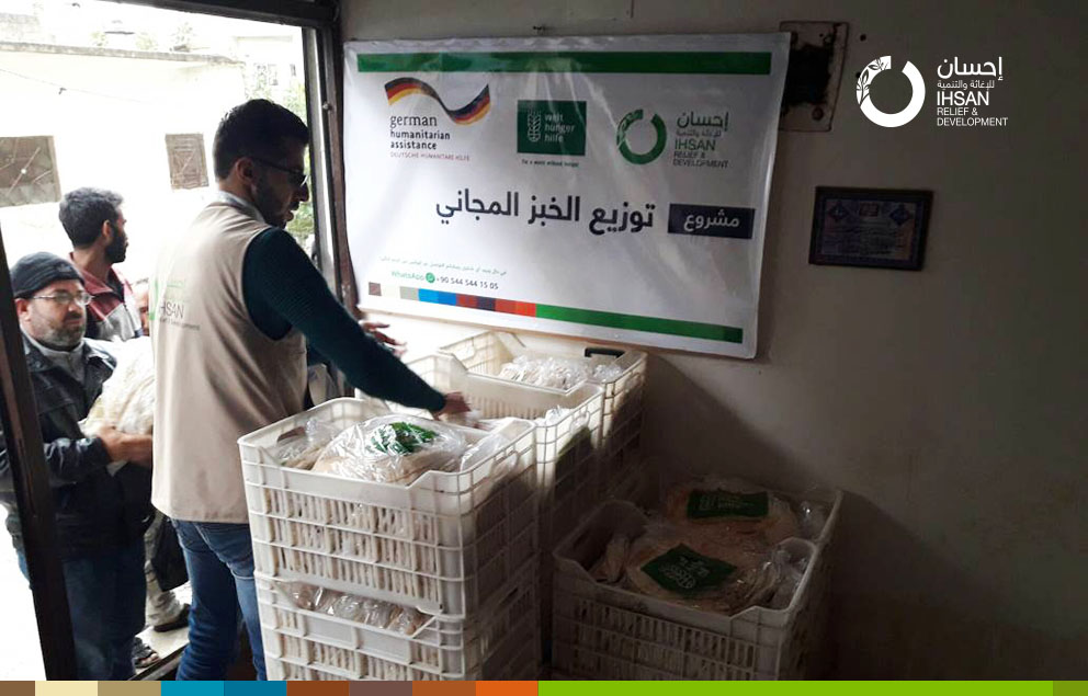 In a daily basis, 2000 bread bags is being distributed by Ihsan team in Jisr Al-Shughour