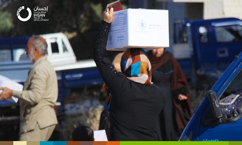 IhsanRD team delivers food aid to 4,600 families in Jisr al-Shughour