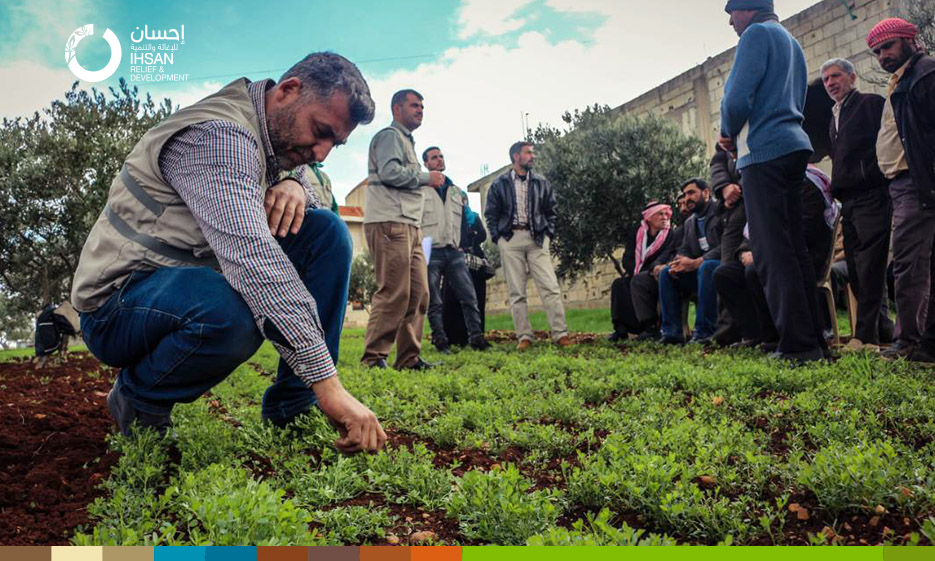 "IhsanRD holds training seminars for farmers within the ""Inter-crops"" project in the northern countryside of Homs"